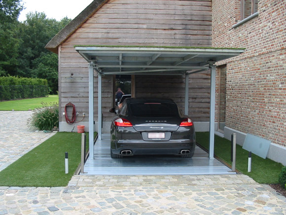 Car parking lift in private house with roof parking for Ascenseur maison prix