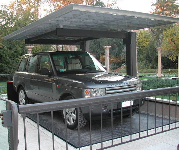 Car parking lift with lateral columns and roof for private for House car parking designs